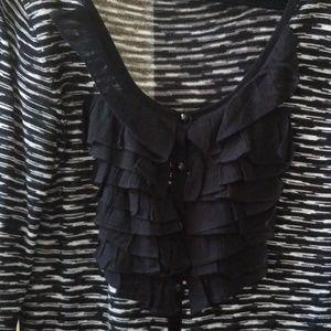 Women's cardigan Size XL ruffled front bib